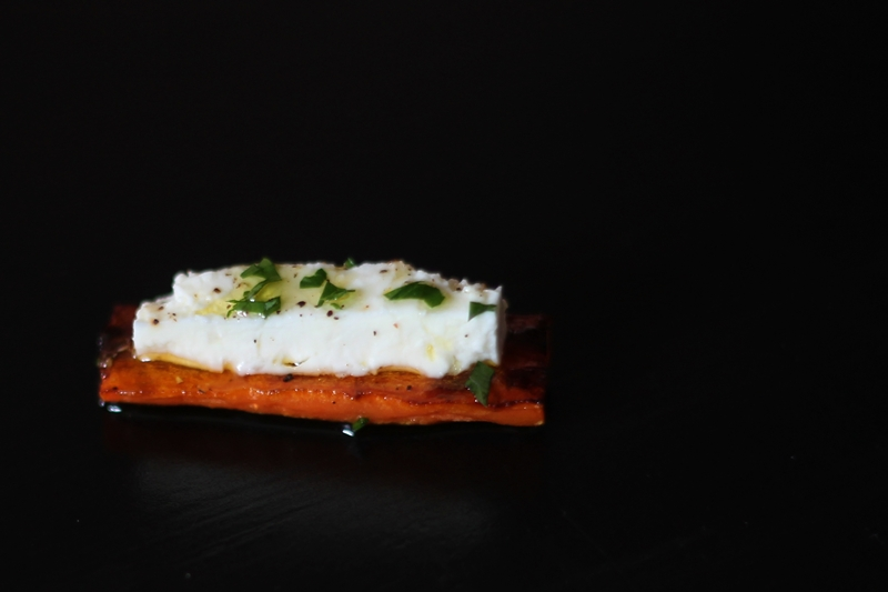 roasted carrot with feta cheese closeup