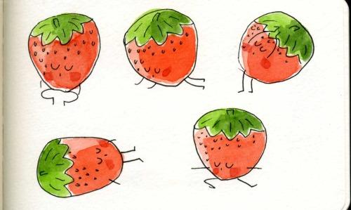 fruit doing yoga