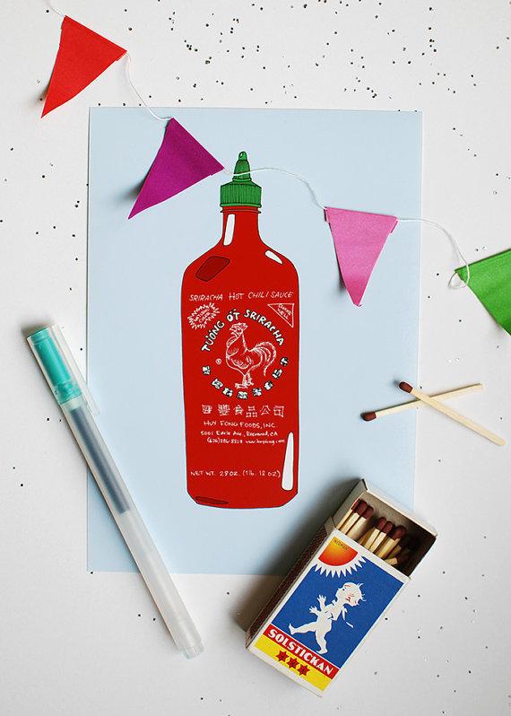 Sriracha art on Etsy - Sriracha products that you don't need