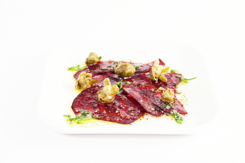 carpaccio of beets with arugula