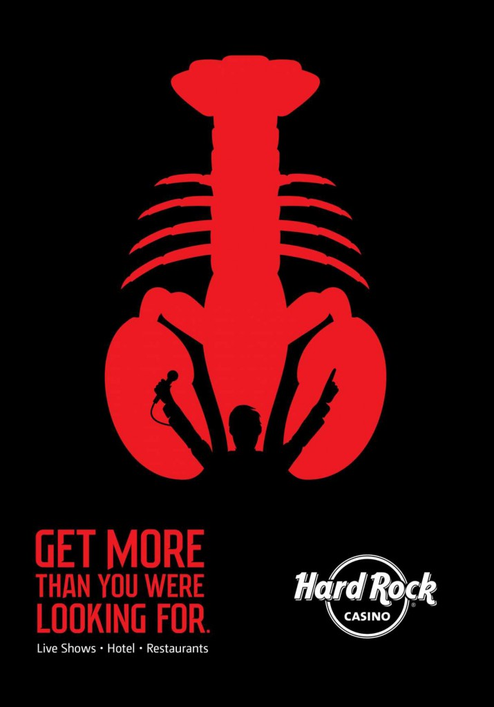 hard rock casino ad with lobster