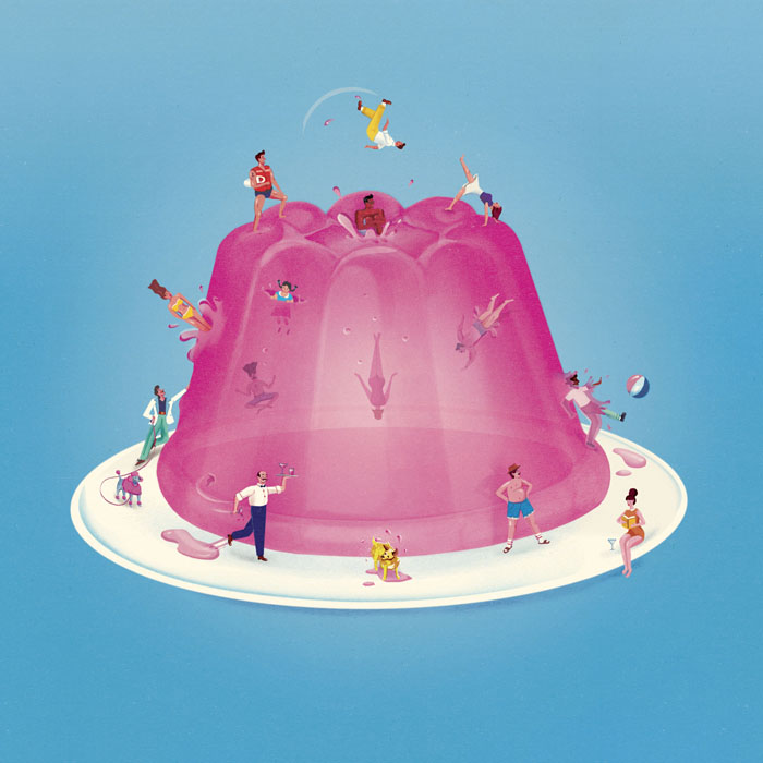 Jack Hudson Food Illustrations - Small People Bouncing On Jell-O
