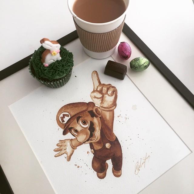 super mario coffee painting