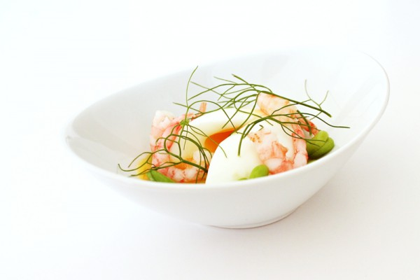 soft boiled egg with shrimps