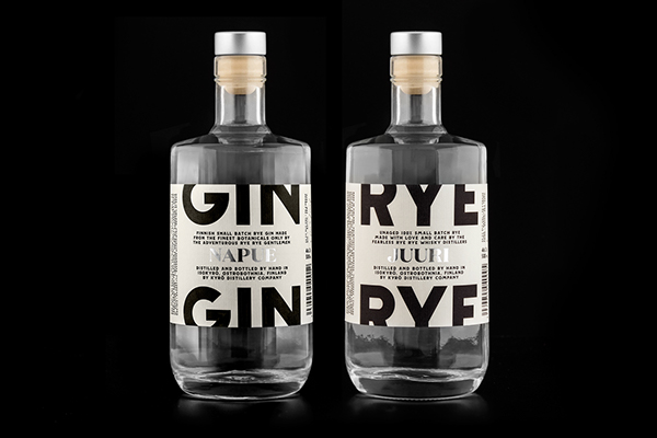 Great whiskey packaging for Finnish gin and rye whiskey