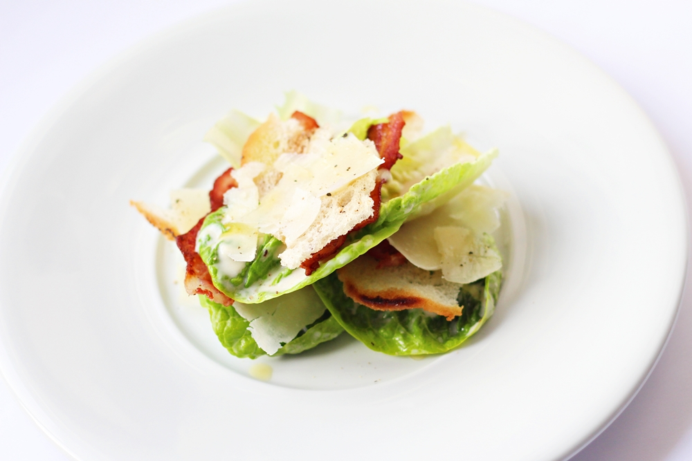 Caesar salad with bacon parmesan and crutons