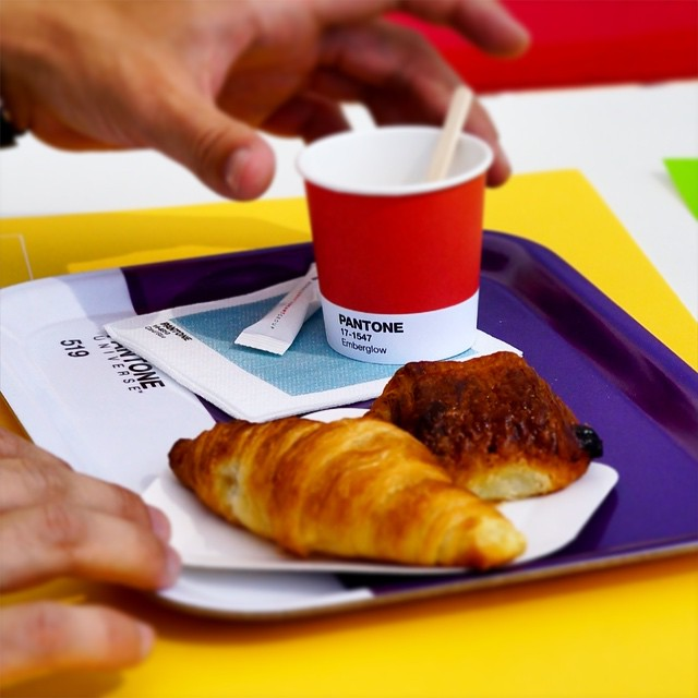 Pantone coffee cup with croissant