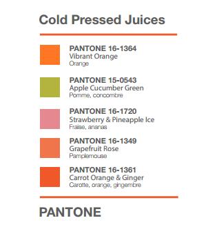 Pantone Menu with Pantone color codes