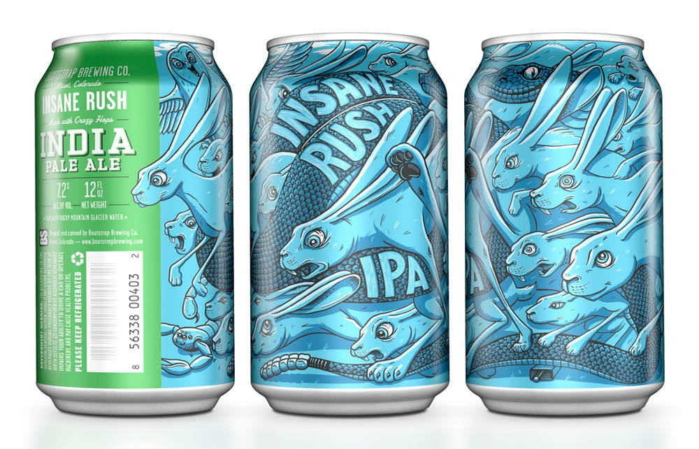 beer can insane rush graphic design