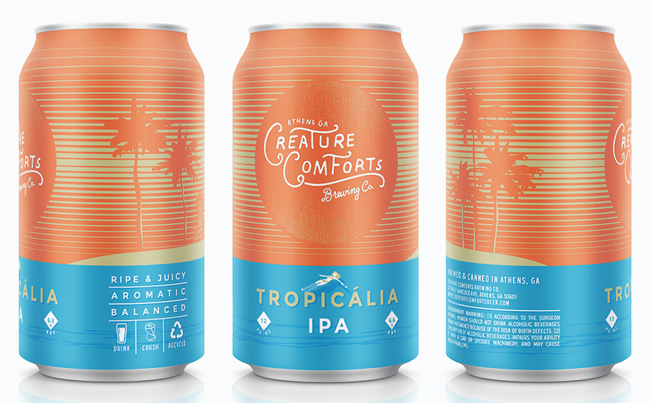 beer can packaging creature comforts tropicalia ipa