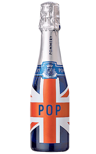 Champagne bottle with Union Jack flag