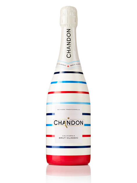 Striped all American Champagne bottle design