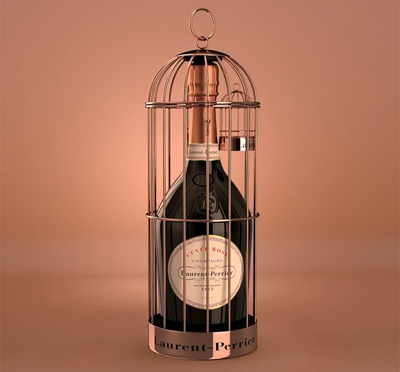 Champagne bottle trapped in cage, Laurent-Perrier Rosé Champagne, Champagne bottle design