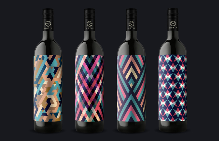 Motif wine label with cool patterns and colors - 10 Great Examples of Colorful Wine Labels That Stand Out
