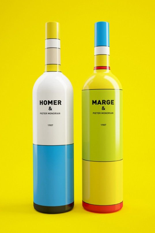 Homer Simpson Wine and Marge Simpson Wine Bottles - 10 Great Examples of Colorful Wine Labels That Stand Out