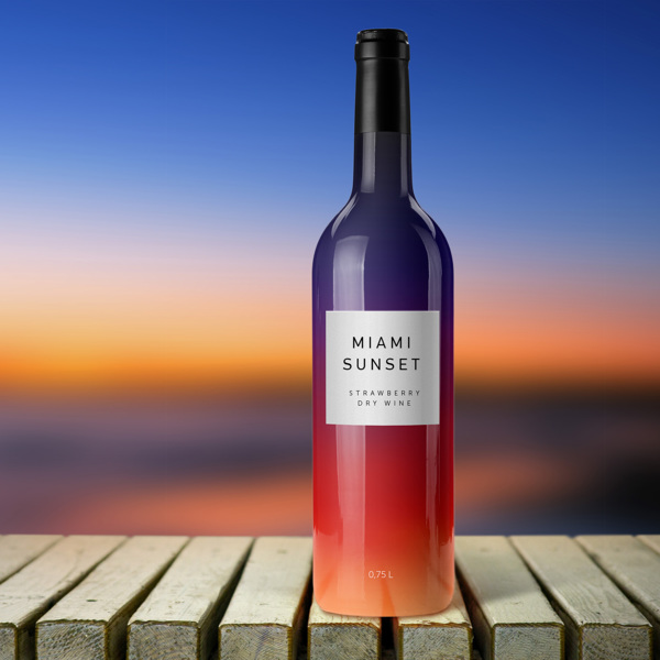 Colorful wine label Miami Sunset - 10 Great Examples of Colorful Wine Labels That Stand Out