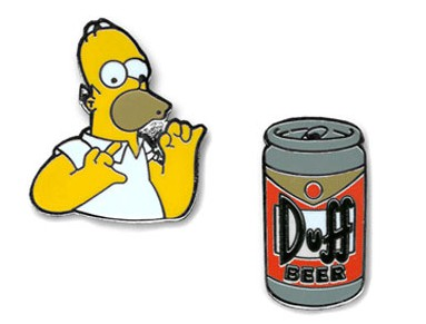 Simpsons cufflinks, Duff Beer and Homer Simpson cufflinks