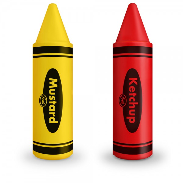 ketchup and mustard crayon