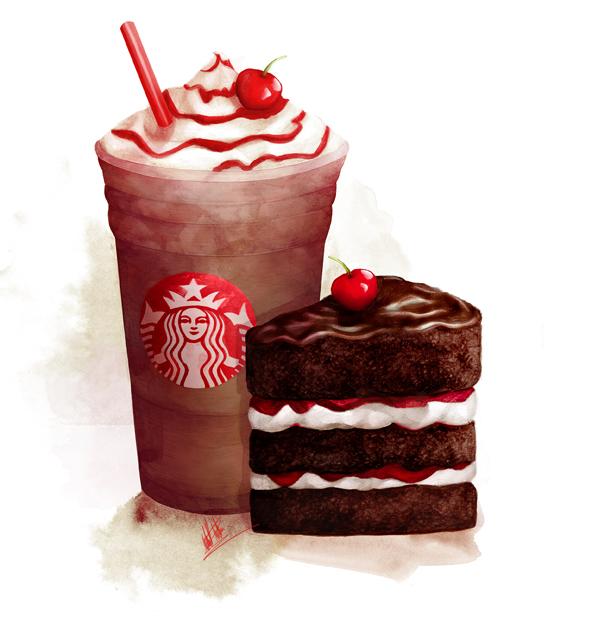 food illustration starbucks cake and coffee