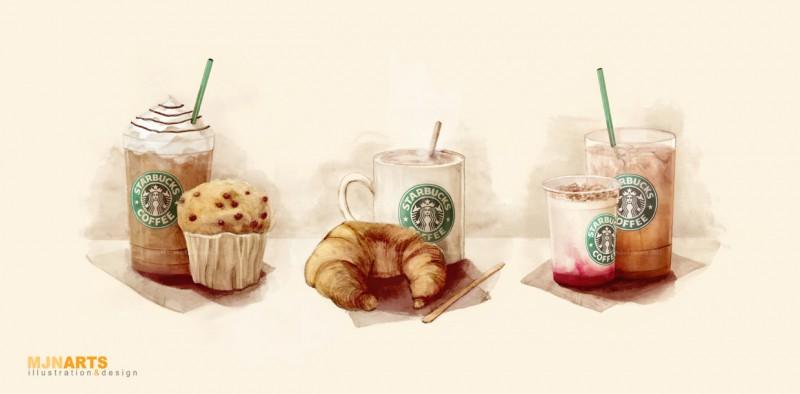 starbucks illustration food art