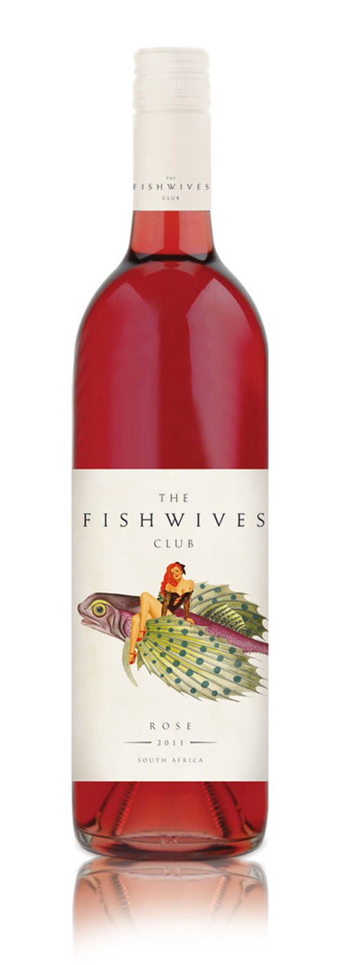 Fishwives pin-up packaging with pin-up on top of a fish on a wine label