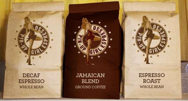 Pin-Up girl espresso packaging, for the pin-up girl coffee chain