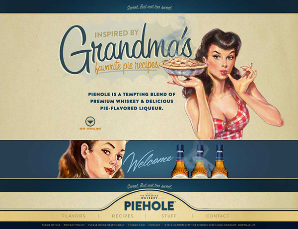Piehole whiskey pin-up packaging