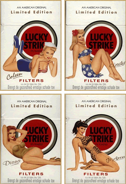 Lucky Strike vintage pin-up packaging