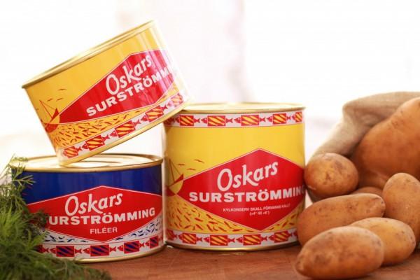 Selection of Surströmming cans from Oskars Surströmming.
