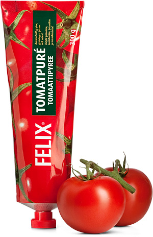 Tomato paste in a tube, food in tubes