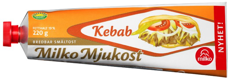 Kebab flavored cheese in a tube, see more of these at ateriet