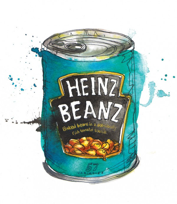 Heinz beans illustration, Watercolor food illustrations