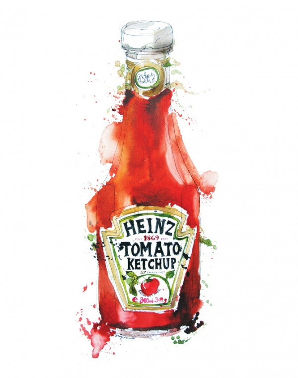 Heinze tomato ketchup painting, Watercolor food illustrations
