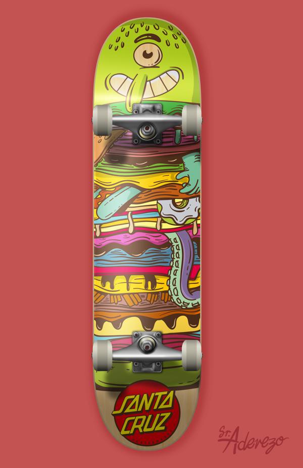 Food Themed Skateboards, Santa Cruz Skate Deck with burger