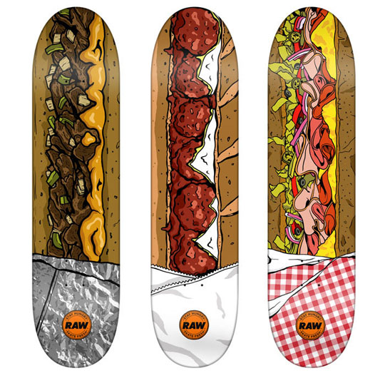 Food Themed Skateboards, Sandwich skateboards Raw