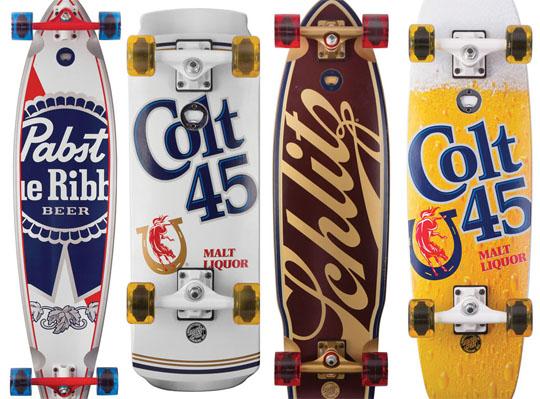 Beer Skateboards, Colt 45, Schlitz, Pabst Blue Ribbon Skateboard