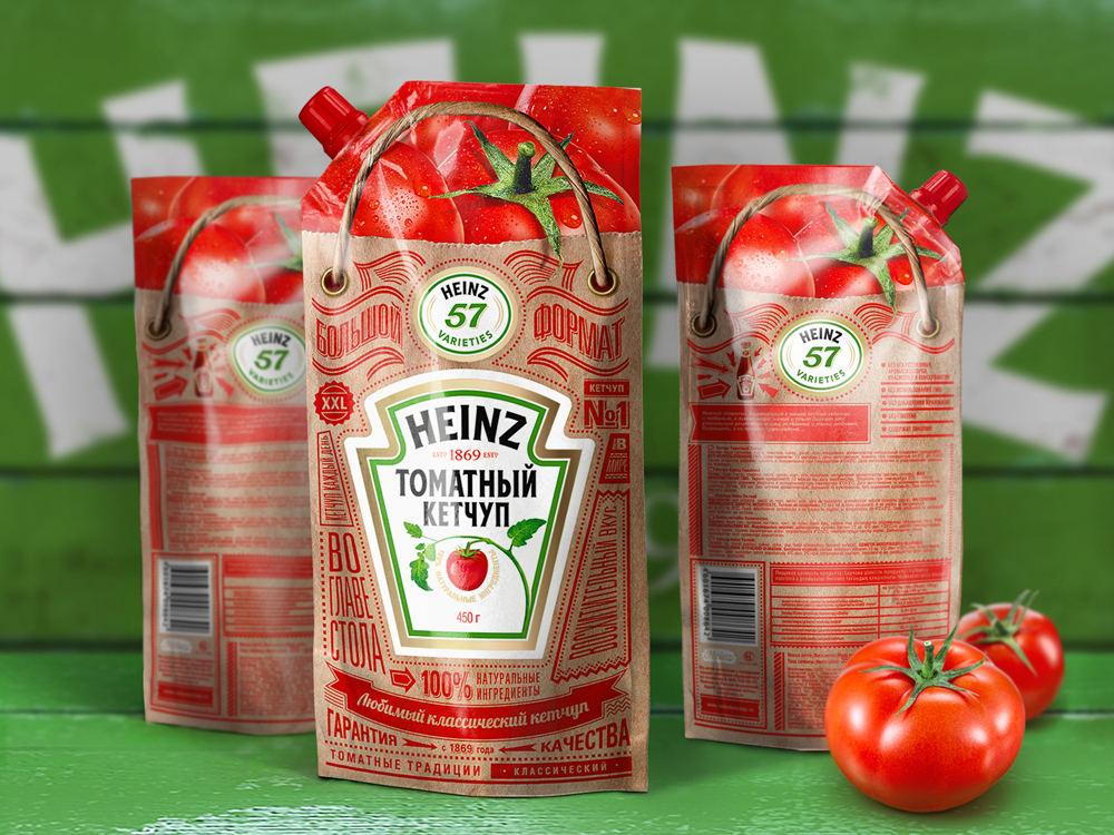 Ketchup Bottle Designs - Heinze Ketchup in a stand up bag