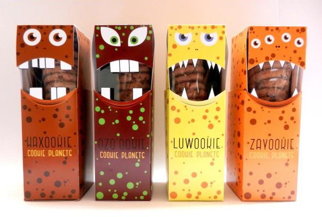 Cookie packaging with monsters, Cool Kids Food Packaging Designs