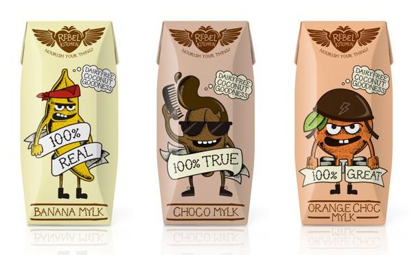 Rebel Kitchen milk packaging, Cool Kids Food Packaging Designs