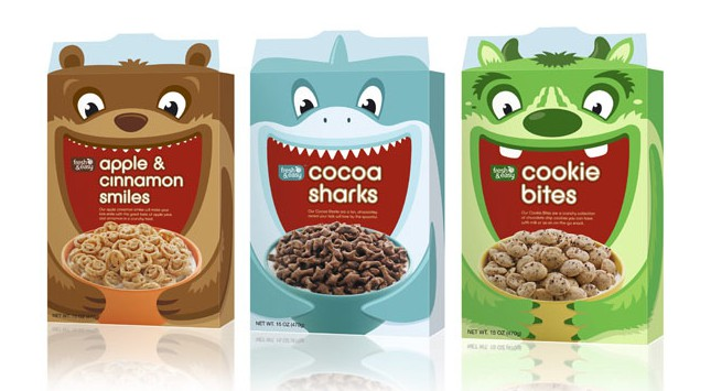 Cereal packaging with monsters, Cool Kids Food Packaging Designs