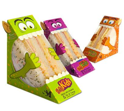 Sandwhich packaging with monsters, Cool Kids Food Packaging Designs