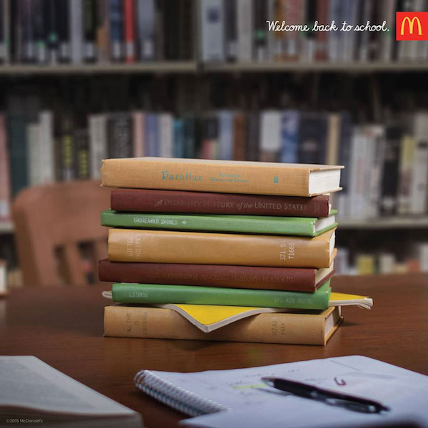 McDonald's Back to School ads, books that look like a burger