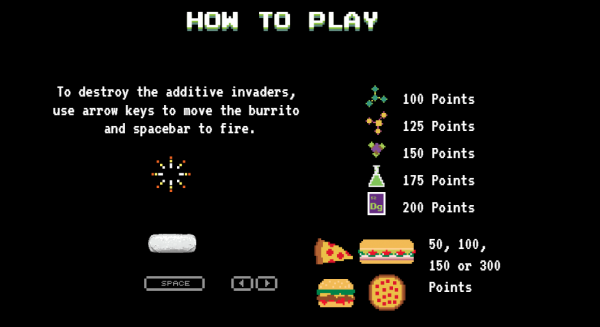 Chipotle Taste Invaders, screenshot