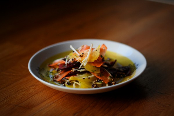Root vegetable salad with mustard seeds and vinegar