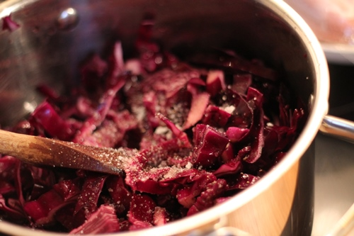 Red cabbage in the making.