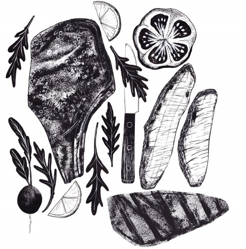 Food illustrations in black and white by alice pattullo