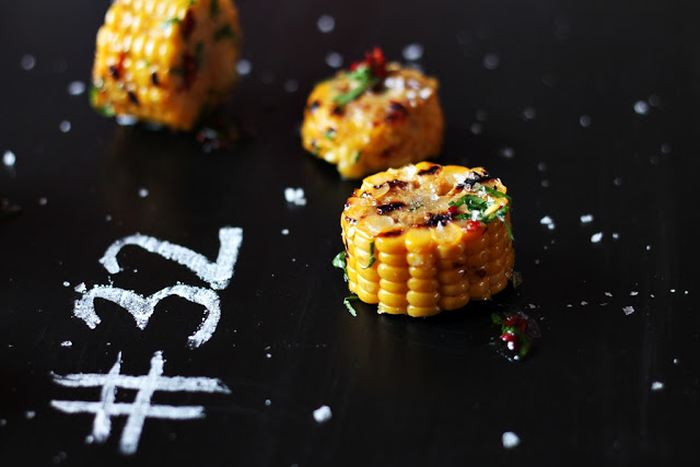 Grilled Corn On The Cob with Chili, Parsley and Garlic