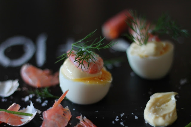 Boiled Eggs with Shrimps, Dill and Mayonnaise