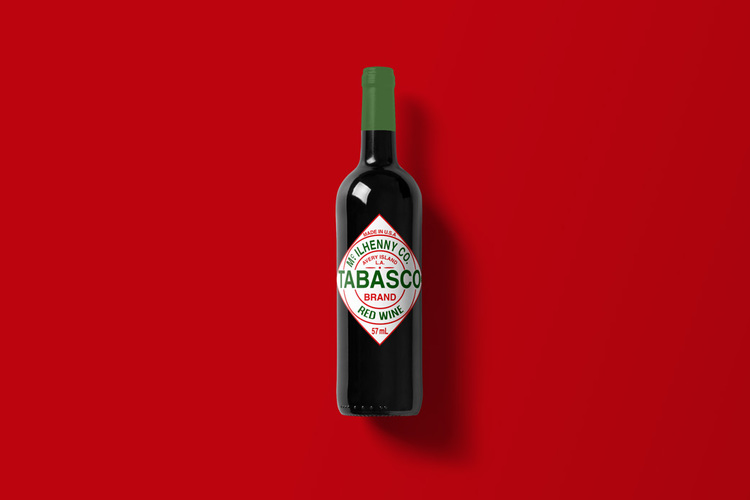 Branded Wine Bottles - if every brand had it's own wine, Tabasco wine bottle