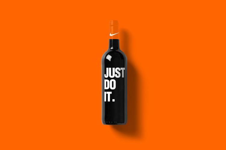 Branded Wine Bottles - if every brand had it's own wine, Nike Wine Bottle